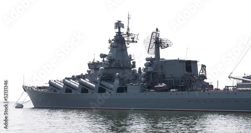 Photo  Guided missile cruiser isolated on white background.