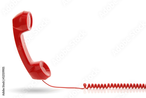Obraz Red telephone receiver - fototapety do salonu