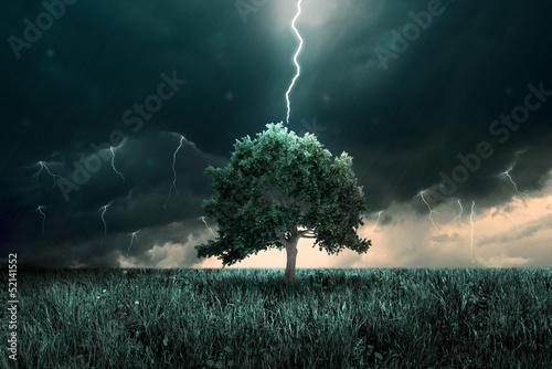 Poster de jardin Tempete Tunder and lighting