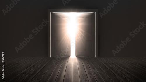 Fotografía Doors opening to show a bright light