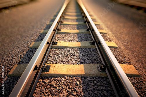 Foto auf Leinwand Eisenbahnschienen Railroad straight track.