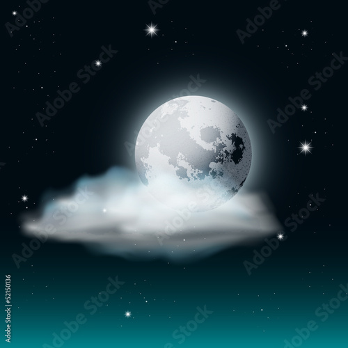 Foto op Plexiglas Indonesië Vector Cloudy Night Sky Illustration with Moon and Stars