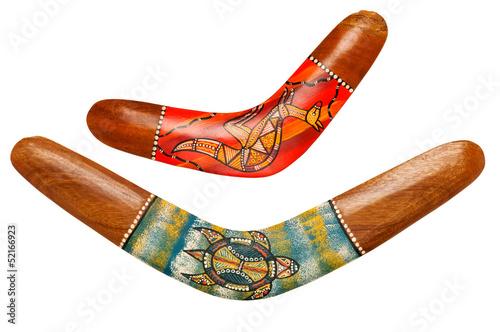Photo Two wooden australian boomerangs on white