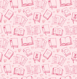 Pattern for girls with books, papers and hearts