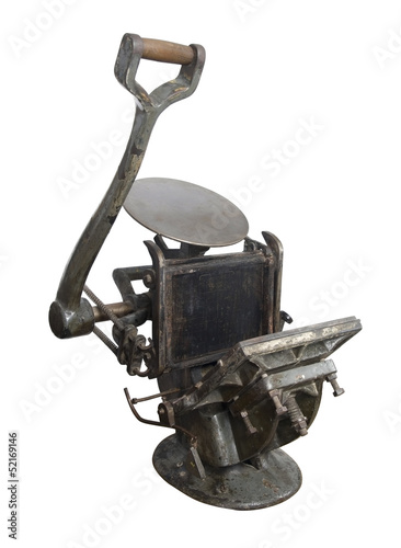 Old printing press machine - Buy this stock photo and