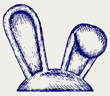 Easter Bunny Ears. Doodle Style