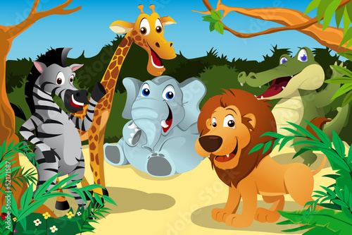 African animals in the jungle Poster