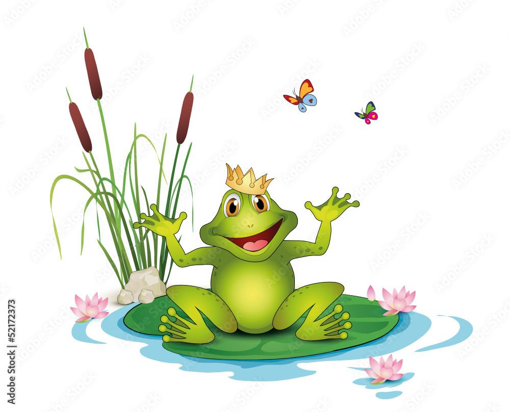 frosch mit krone seerosen schilf und schmetterlinge