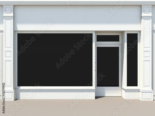 Shopfront with large windows. White store facade. Fototapeta
