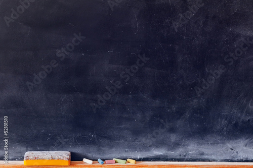 Fotografie, Obraz  Blank blackboard with colored chalks