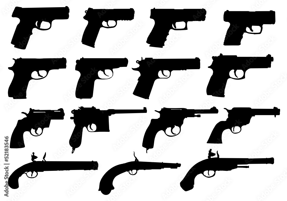 Fototapeta Set of pistols silhouettes