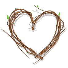 Heart Woven Of Twigs, Vector Eps10 Illustration.
