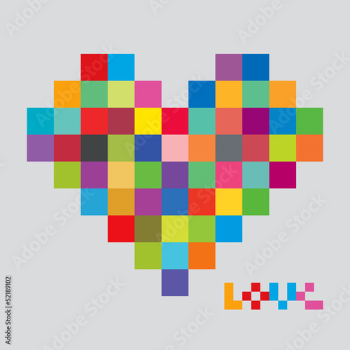 Photo sur Toile Pixel Heart of color pixels. Heart bit.