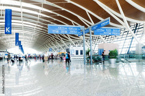 Aluminium Prints Airport passenger in the shanghai pudong airport