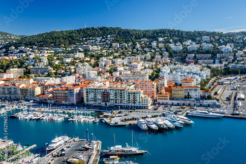 Fotografía  Aerial View on Port of Nice and Luxury Yachts, French Riviera, F