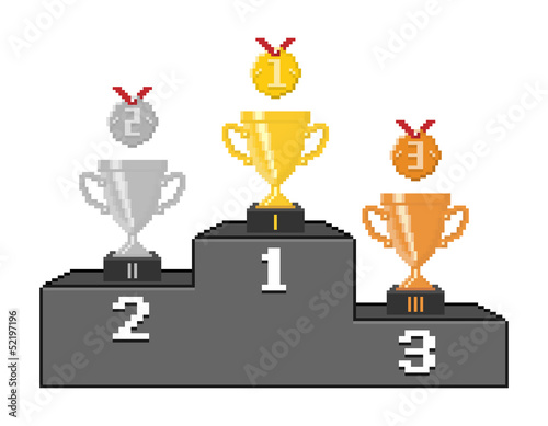 Photo sur Toile Pixel Pixel podium with trophy cups and medals. Vector illustration.