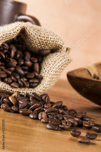 Poster Café en grains Country theme with coffee