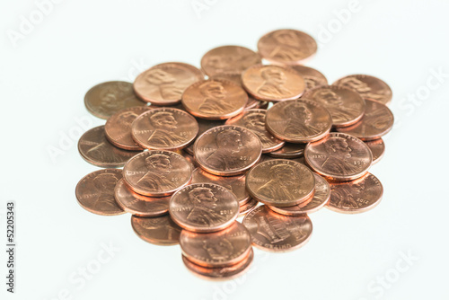Fotografía  American pennies piled up