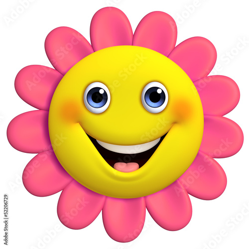 Foto op Plexiglas Sweet Monsters 3d cartoon cute flower