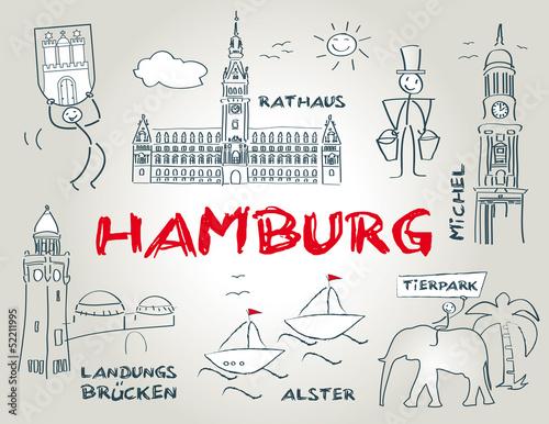 Hansestadt Hamburg Wahrzeichen Illustration Buy This Stock