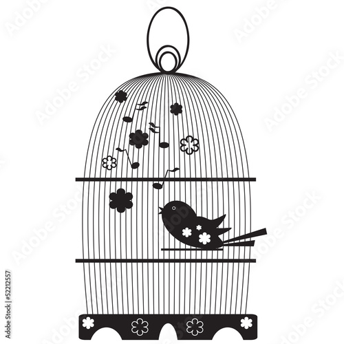Acrylic Prints Birds in cages Vintage birdcages with bird
