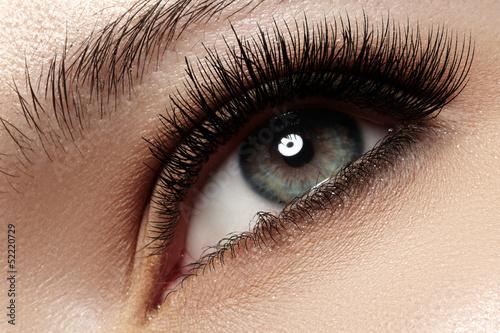 Fototapeta Macro of beautiful eye with extremely long eyelashes