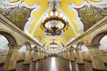 Fototapeta Moskwa Metro station Komsomolskaya in Moscow, Russia. Luxury subway interior.