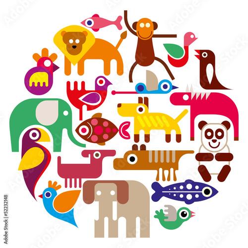 zoo-animals-round-wektorowa-ilustracja