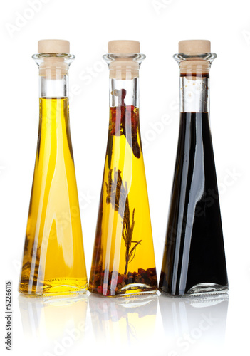 Plakat w ramie Olive oil and vinegar bottles