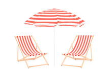 Two Beach Sun Loungers And An Umbrella
