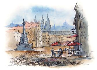 Panel Szklany Do kawiarni Prague