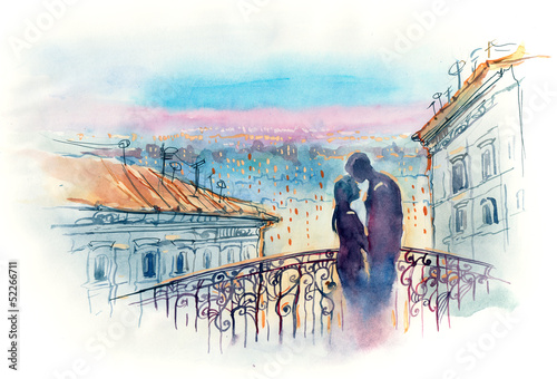 Photo Stands Paintings loving couple in the city