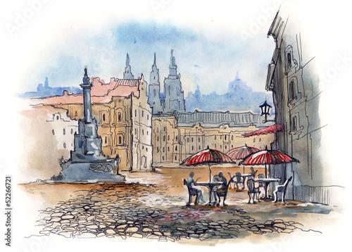 Foto auf AluDibond Gezeichnet Straßenkaffee Prague