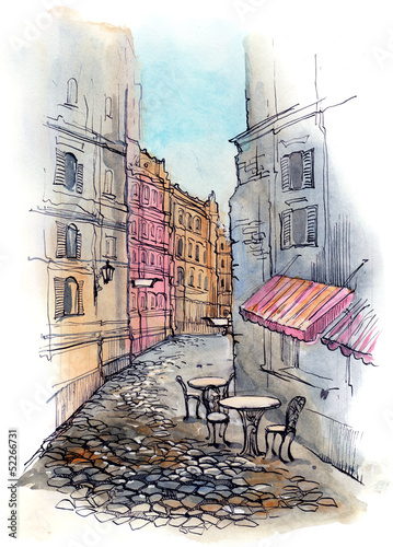 Photo sur Toile Drawn Street cafe cafe on the street