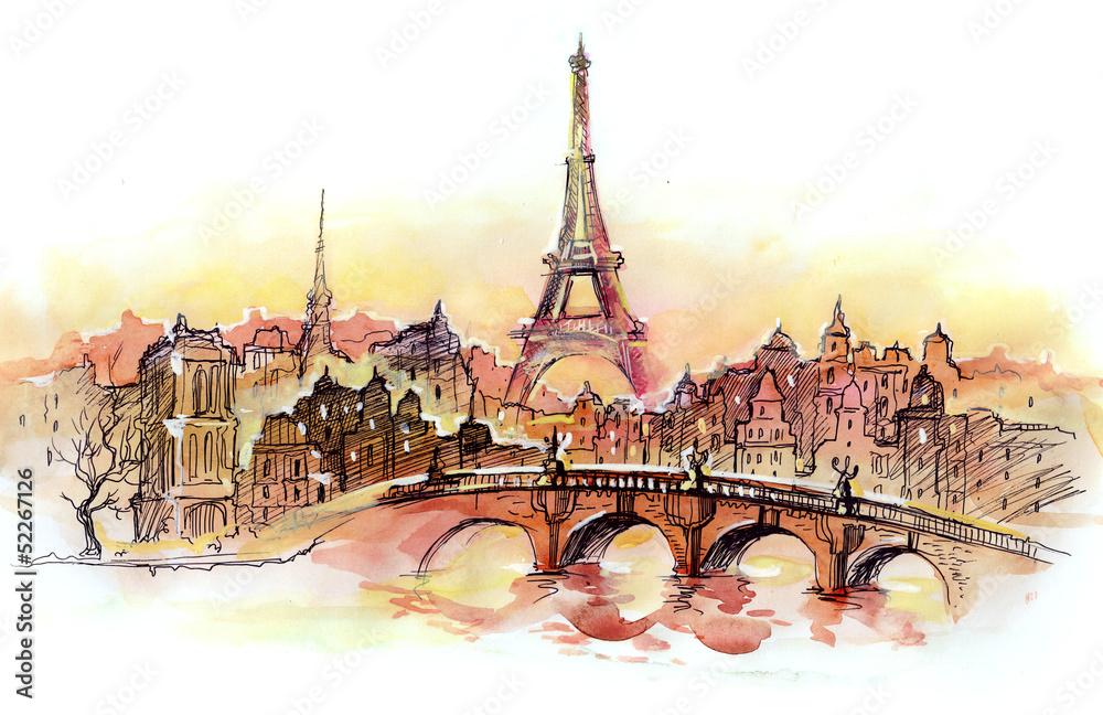 Fototapety, obrazy: sunset in Paris