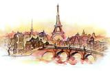 Fototapeta Paryż - sunset in Paris