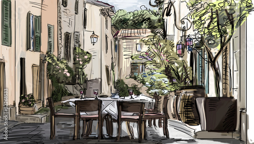 Foto op Plexiglas Drawn Street cafe European city street color illustration