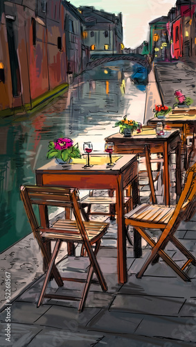 Wall Murals Drawn Street cafe European city street color illustration