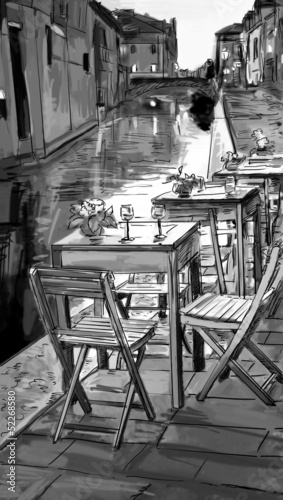 Photo sur Toile Drawn Street cafe European city street color illustration