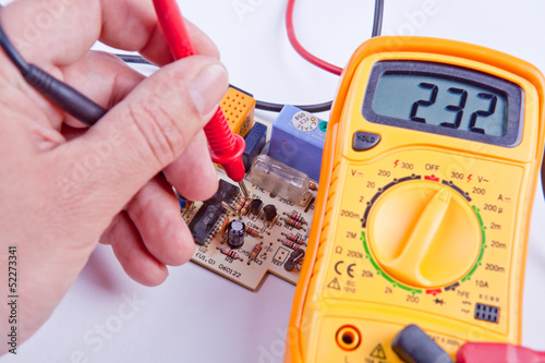 Testing board with digital multimeter Canvas Print