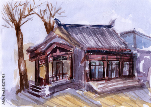 akwarela-chinska-architektura