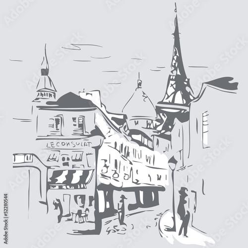 szara-akwarela-przedstawiajaca-ulice-paryza-i-wieze-eiffla