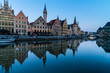 canvas print picture - Leie river bank in Ghent, Belgium, Europe.