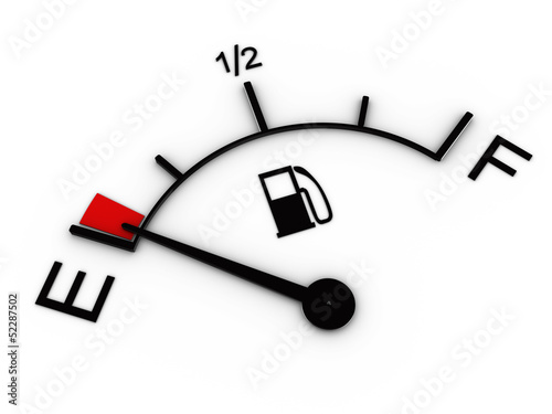 Fotografía  3d illustration of fuel gauge showing low level