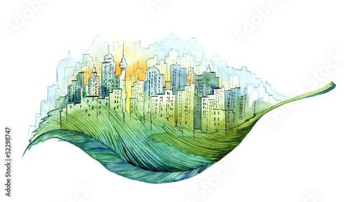 Foto auf Leinwand Gemälde green city