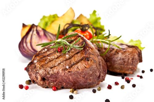 Montage in der Fensternische Fleisch Beef steaks