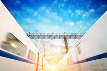 Two Modern High Speed Train Wi...
