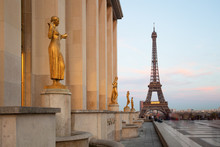Paris, Sculptures On Trocadero With Eiffel Tower View, France