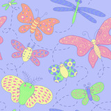 Seamless texture with butterflies.