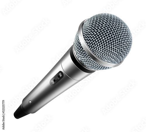 Stampa su Tela Vector microphone isolated on white background